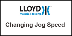 How do I change the jog speed on my Lloyd Instruments Plus Series test machine